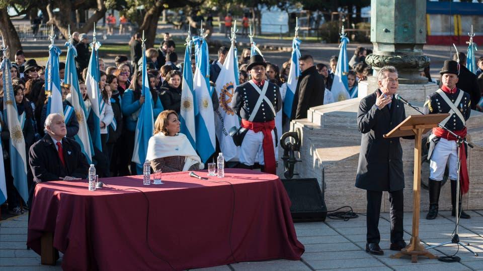 Macri, durante el acto por el Día de la Bandera en Rosario