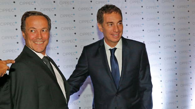 Diego Santilli junto a Rubén Giustiniani. Foto: LA NACION / Fabián Marelli