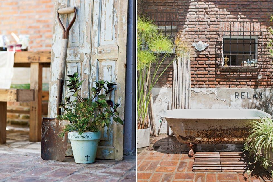 La bañadera antigua de fundición (Mercado Libre) hace las veces de pileta para refrescarse en los días tórridos de verano.  /Javier Picerno