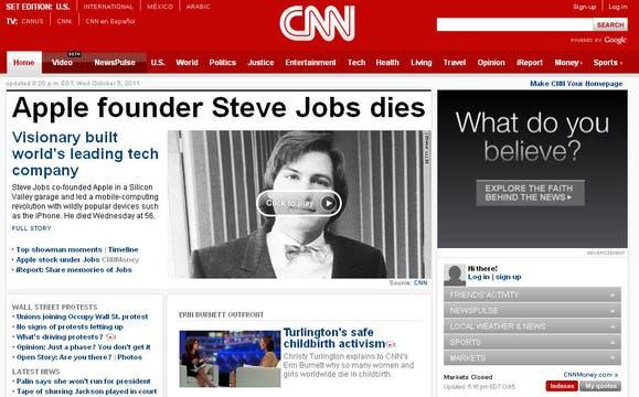 El portal de la cadena de noticias CNN.