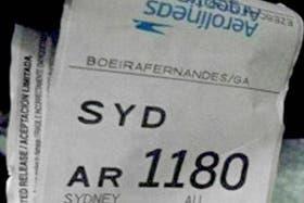 El marbete del vuelo hacia Sydney
