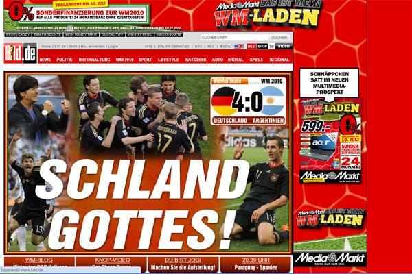 La derrota argentina, en los medios extranjeros.  /Bild.de (Alemania)