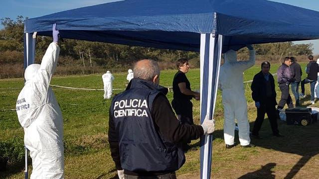 Los peritos de la policía bonaerense trabajando en el lugar donde fue encontrado el cuerpo de Anahí Benítez