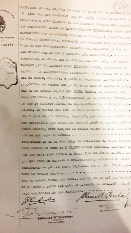 Una de las hojas de la declaración de Gustav Einckenberg ante Coordinación Federal en los días posteriores a los desembarcos clandestinos en Mar del Sur