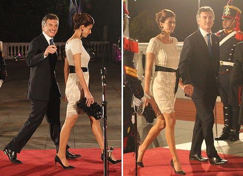 Muy elegante, Juliana Awada eligió un sobrio vestido nude con piedras bordadas que llevó con clásicos stilettos negros. Foto: LA NACION y agencias