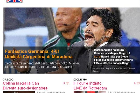 La derrota argentina, en los medios extranjeros. Foto: La Gazzetta dello Sport (Italia)