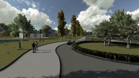 La imagen grafica una de las calles centrales del complejo