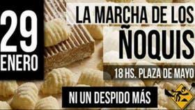 """El flyer de """"la marcha de los ñoquis"""" convocada para esta tarde"""