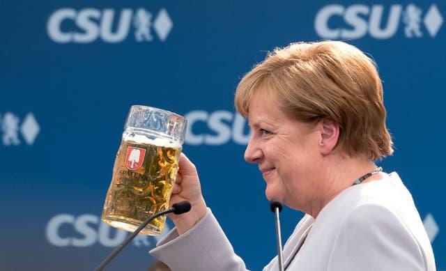 Merkel, ayer, en un acto de campaña en Munich