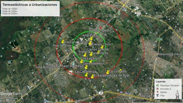 Las plantas instaladas en Pilar y su distancia con las localidades de la zona