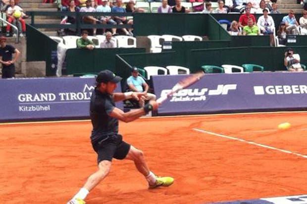 Juan Monaco en su victoria ante Andrey Golubev