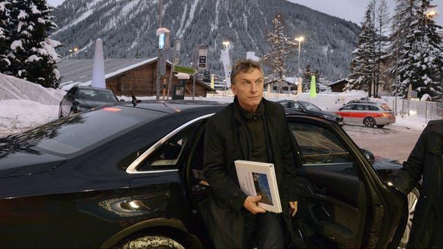 Mauricio Macri al ingresar al Foro Económico Mundial en Davos, Suiza