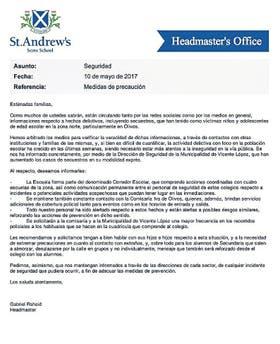 El comunicado del St. Andrew's