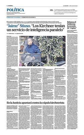 """""""Los Kirchner tenían servicios paralelos que les armaban carpetazos"""" fue el título del reportaje"""