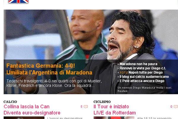 La derrota argentina, en los medios extranjeros.  /La Gazzetta dello Sport (Italia)