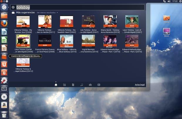 Resultados de una búsqueda en Ubuntu 12.10: integran los de Amazon