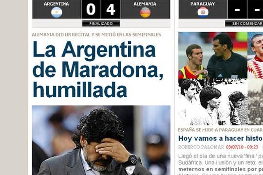 La derrota argentina, en los medios extranjeros. Foto: Marca.com (España)