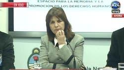 Patricia Bullrich en conferencia de prensa desde el Ministerio de Seguridad