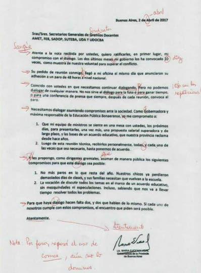 Vidal mandó una carta a los docentes y la CTA difundió una versión corregida en rojo por los docentes