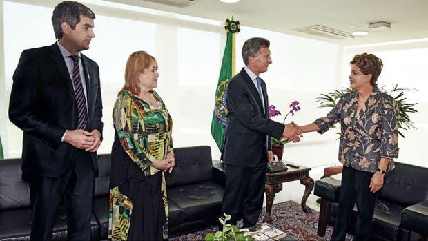 Peña, Malcorra y Macri, cuando visitaron a Dilma el 4 de diciembre pasado