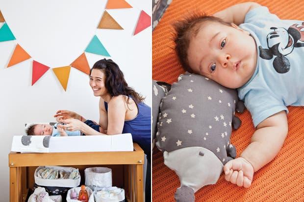 La arquitecta Cinthia Slemenson y su divino bebé, Teo. La arquitecta Cinthia Slemenson y su divino bebé. Cuna Steps (Baby Piac, con módulos de transformación y colchón para la primera etapa) en MDF y guatambú, que se adapta al desarrollo del niño hasta los 6 años.  /Magalí Saberian