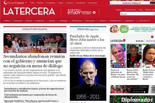 El portal del diario La Tercera, de Chile.