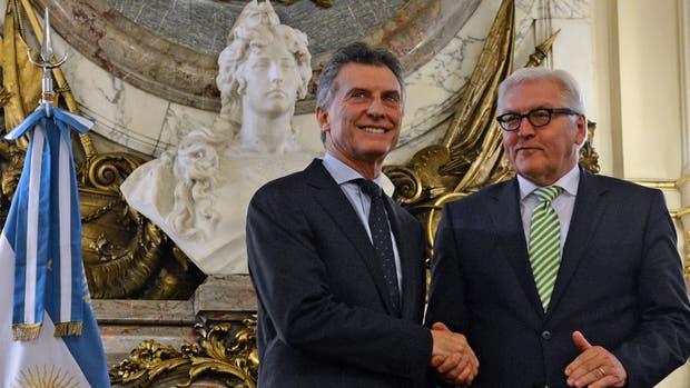 Mauricio Macri y el canciller alemán, Walter Steinmeier, ayer, en la Casa Rosada
