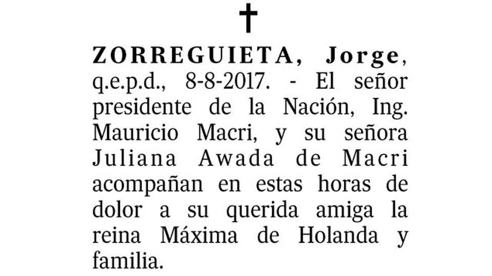 El mensaje de Mauricio Macri y Juliana Awada por la muerte del padre de la Reina Máxima
