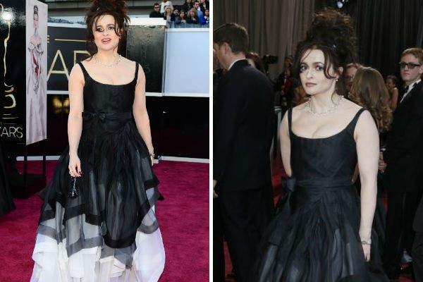 ¿Muy Burton?, si, la pareja del director de cine, Helena Bonham Carter optó por un look desprolijo de pies a cabeza. Foto: AP y AFP