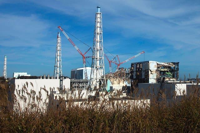Una vista de la accidentada central nuclear de Fukushima, Japón
