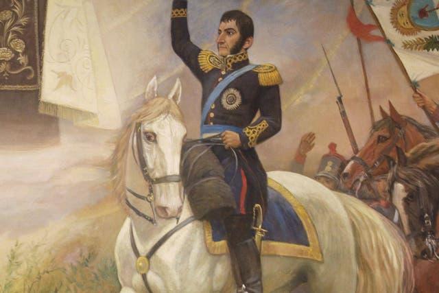 La imagen de José de San Martín en una pintura del museo Del Carmen, en Santiago de Chile