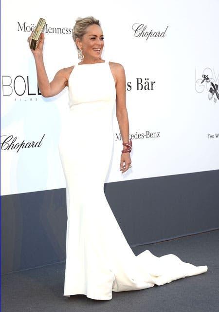 Sharon Stone, radiante en un diseño blanco. Foto: /Getty Images