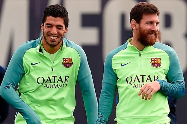 Suárez y Messi, en la práctica de Barcelona