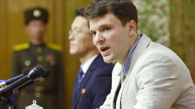 Otto Frederick Warmbier, un estudiante de la Universidad de Virginia en la corte superior de Corea del Norte en Pyongyang