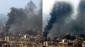 En la imagen original (izquierda), se observa una columna de humo menos densa y más gris que en foto modificada