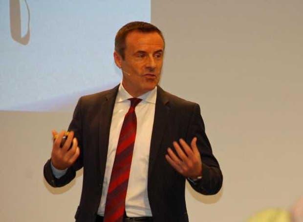 El presidente de la división agro de Bayer a nivel global, Liam Condon, en la conferencia de hoy en Monheim, Alemania