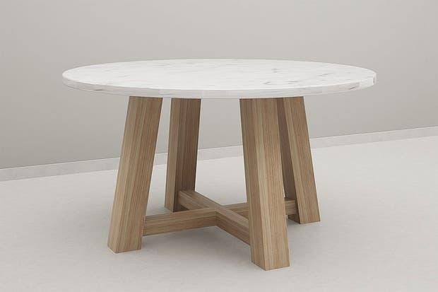 con tapa de cemento alisado gris y patas en madera maciza de petirib olivia d
