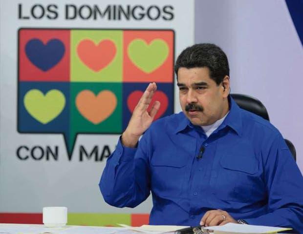 El presidente venezolano, ayer, en su programa de televisión