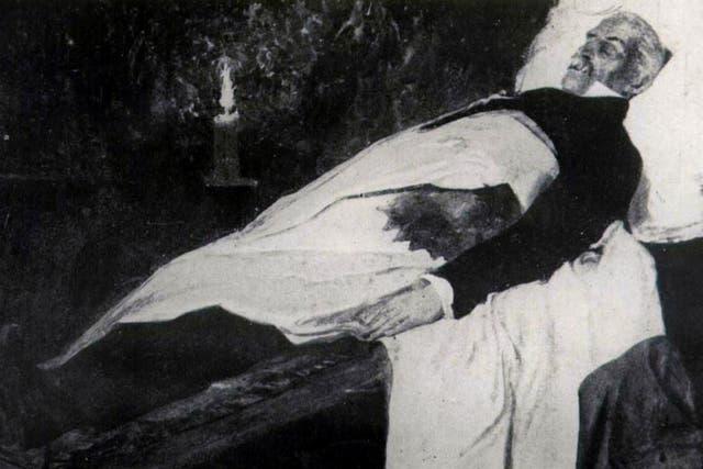 Una pintura del velatorio del general José de San Martín