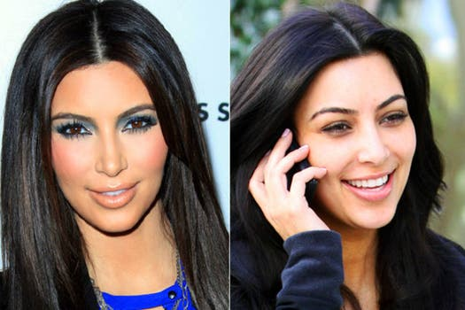 Kim Kardashian antes del rímel, el rubor y las sombras. Foto: Archivo