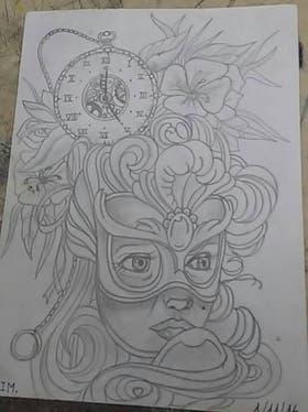 """El dibujo que eligió se llama """"El tiempo de la mujer"""""""