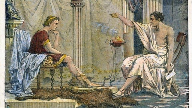 Detalle de Aristóteles y su alumno Alejandro, de Charles Laplante (1866)