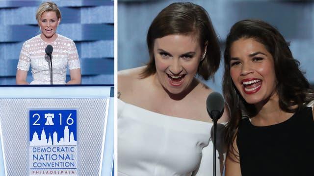Elizabeth Banks, Lena Dunham y America Ferreira apoyaron a Hillary Clinton en la Convención Demócrata