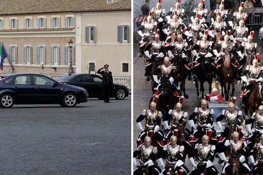 A la izquierda, el Papa Francisco, a la derecha, Benedicto XVI que en octubre de 2008 fue al palacio del Quirinal rodeado de la custodia presidencial. Foto: AP