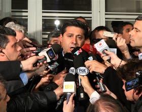 Angelici, el presidente de Boca, anoche en la entrada de la AFA