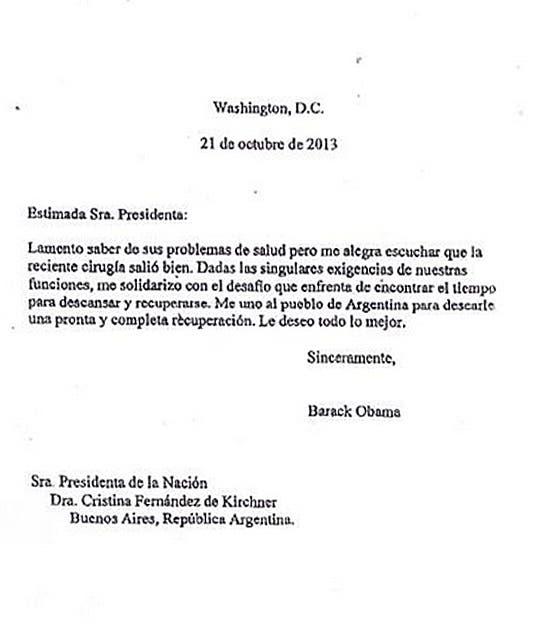 La carta que Obama le escribió a Cristina