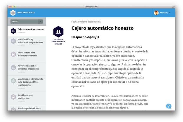 Una vista de la interfaz de Democracia en Red, la plataforma on line del Partido de la Red para que los ciudadanos puedan informarse sobre los proyectos tratados en la Legislatura de Buenos Aires