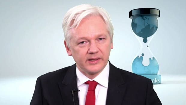 Julian Assange en una videoconferencia a principios de este mes