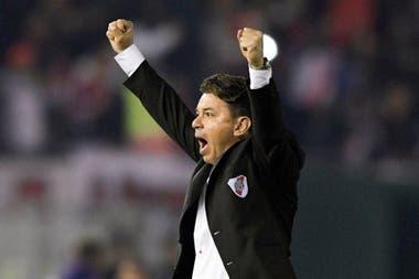 Marcelo Gallardo celebra un gol de River. Su influencia fue clave para que su equipo le ganara en continuado a Boca en los últimos años.
