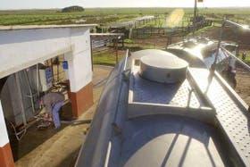 Camiones de la empresa láctea operando en un tambo bonaerense; se habla de un posible socio nacional
